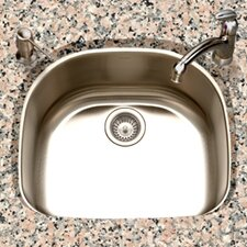 "Eston 23.44"" x 20.88"" Undermount D Shape Single Bowl Kitchen Sink"