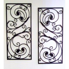 Metal Items Mediterranean Design Set of 2 Iron Wall Art