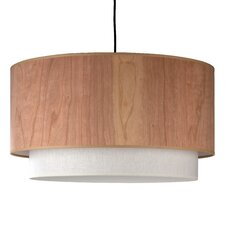 <strong>Lights Up!</strong> Woody Drum Pendant Lamp with Round Canopy in Brushed Nickel