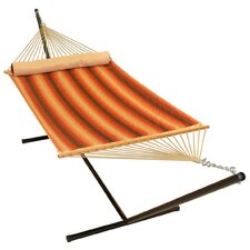 <strong>Algoma Net Company</strong> Quilted Hammock with Bolster Pillow and Stand