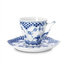 <strong>Royal Copenhagen</strong> Blue Fluted Full Lace 5 oz. Cup and Saucer