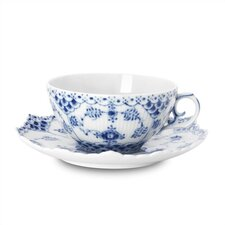 <strong>Royal Copenhagen</strong> Blue Fluted Full Lace 7.5 oz. Teacup and Saucer