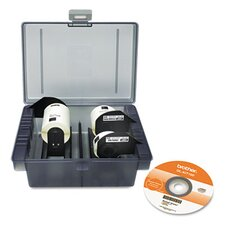 QL Label Printer Get Inspired Starter Kit, 3 Rolls, Template CD, Storage Case