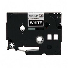 "TZE325 Laminated Tape Cartridge, For TZ Models, 3/8"", White/Black"