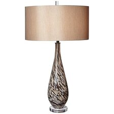 """PCL Swirl Art Glass 34"""" H Table Lamp with Drum Shade"""