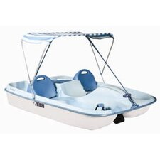 Rainbow Deluxe Four Person Pedal Boat with Fade Blue / White Deck and White Hull