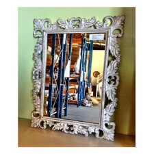 Classic White Wash Wooden Carved Mirror