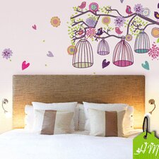 Bohemian Style Birds Cage and Floral Branch Wall Art Decal