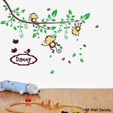 Personalised Name and Branch with Monkeys and Birds Removable Wall Sticker