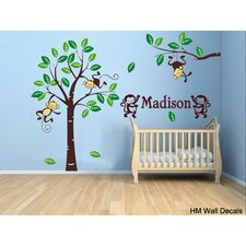 Personalised Name and Cute Monkeys, Tree Wall Sticker