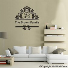 Personalised Family Name and Floral Border Wall Decal
