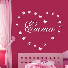 Personalised Name and Flowers with Butterflies Wall Sticker