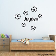 Personalised Name with 6 Soccer Balls Wall Sticker