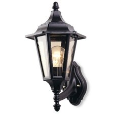 Outdoor Six Panel Wall Lantern in Black
