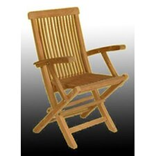 <strong>Arbora Teak</strong> Solid Teak Classic Folding Dining Arm Chairs (Set of 2)