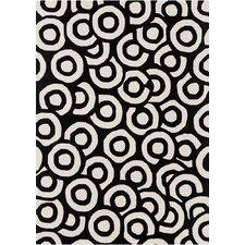 Davin Black & White Geometric Area Rug