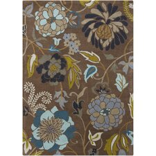 Gagan Floral Brown Area Rug