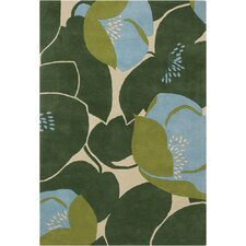 <strong>Chandra Rugs</strong> Amy Butler Field Poppy Green Rug