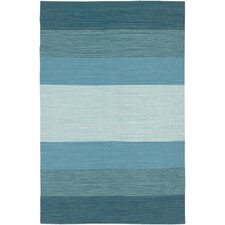 India Blue Striped Area Rug