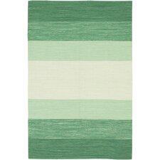 India Green Striped Area Rug