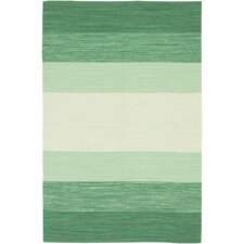 India Green Striped Rug