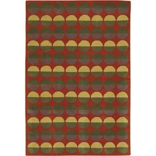 Rowe Red Circle Area Rug