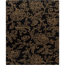 Hanu Swirls Floral Black/Gold Floral Area Rug