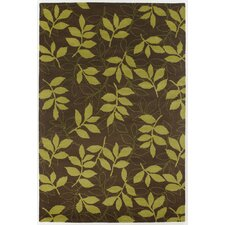INT Lime/Brown Leaves Area Rug