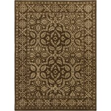 INT Brown/Tan Floral Border Area Rug