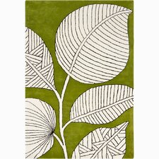 INT Green/Ivory Floral Area Rug