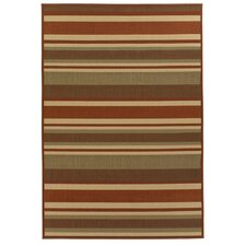 Ryan Brown/Tan Stripe Indoor/Outdoor Area Rug