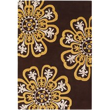 Contemporary Designer Dark Brown/Yellow Rug