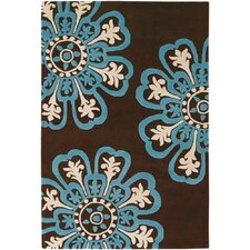 Counterfeit Contemporary Designer Dark Brown/Blue Area Rug
