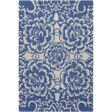 Counterfeit Contemporary Designer Blue Area Rug