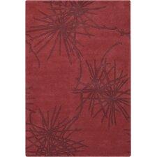 Counterfeit Contemporary Designer Crimson Area Rug