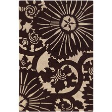 Contemporary Designer Dark Brown Rug