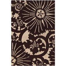 Counterfeit Contemporary Designer Dark Brown Area Rug