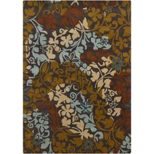 Gagan Charcoal Brown Area Rug
