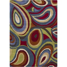 Gagan Red Plant Area Rug