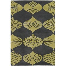 <strong>Chandra Rugs</strong> Parson Gray Designer Grey/Lime Rug