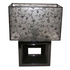 Optica Table Lamp in Black and Flower Trim