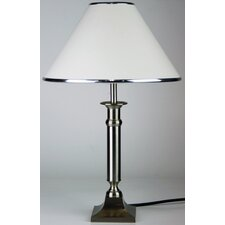Brazil Table Lamp in Brushed Chrome with White Shade