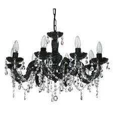 Marie Therese 8 Light Pendant in Black / Clear