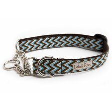 <strong>Lola and Foxy</strong> Blue Chevron Martingale Dog Collar