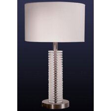 Table Lamp in Satin Nickel with White Shade