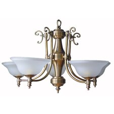 Five Light Pendant with Antique Brass Base