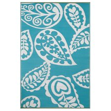 Paisley Aqua Rug in River Blue