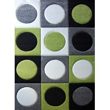 Abstract Grey Green Kids Rug