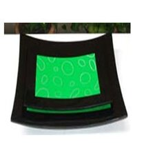 Green Circle Lacquer Curve Tray (Set of 2)
