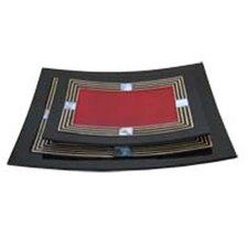 Mother Of Pearl Red Lacquer Curve Tray (Set of 2)